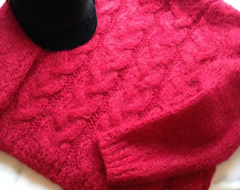 RESERVED 60s 'Original Mohair' Cranberry Italian Hand Knit Crew Neck