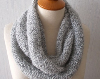 Circle Scarf Infinity Scarf Circular Cowl In Light  Grey SALE