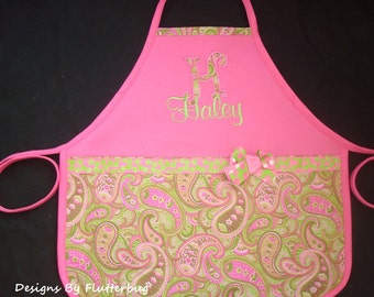 PERSONALIZED Girls Apron with Appliqued Initial - Hot Pink and Green Paisley