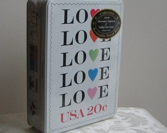 LOVE Stamps Tin Stationery and Folded Notes in Collectible Metal Box Vintage 1995 By US Postal Service & Case Stationery Co.