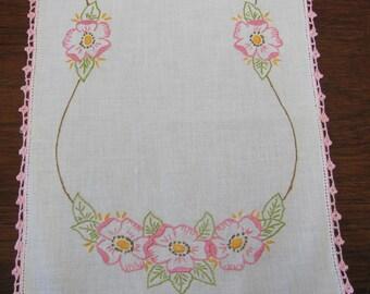 Vintage Pink Hand Embroidered Floral Cotton Linen Table Runner Dresser Scarf