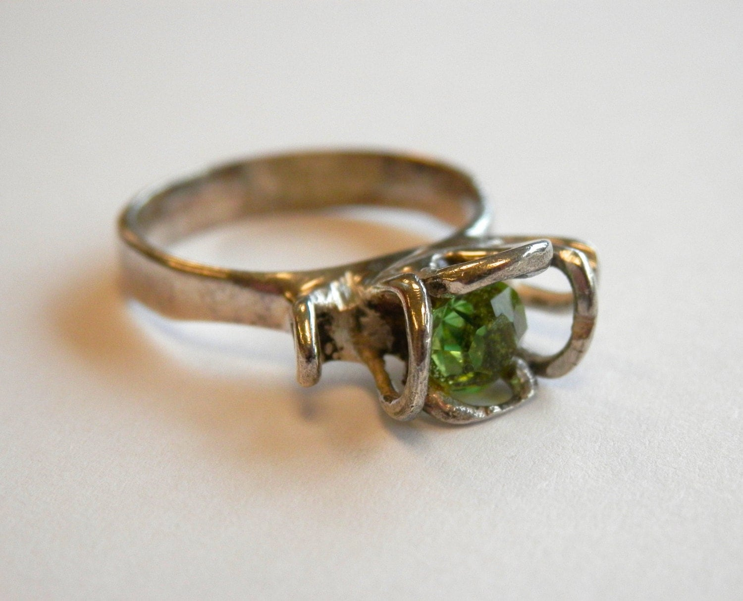 vintage peridot ring handmade sterling silver by