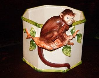 Rare Vintage Handmade Groselle Italy Monkey Porcelain Planter Stamped
