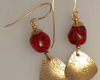 Vintage Japanese glass beads and bronze earrings - ruby red