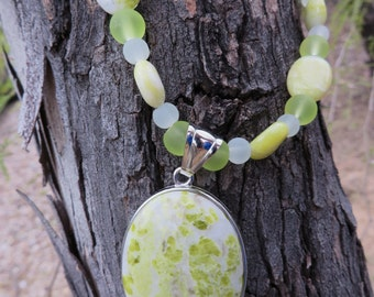 Lemon Jasper and Frosted Glass Necklace with Jasper Pendant