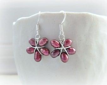 Sterling Earrings, Flower Earrings, Freshwater Pearl Earrings, Violet Pearl Earrings, Purple Earrings, Dangle Earrings, Small Earrings