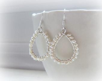 Seed Pearl Teardrop Earrings, Freshwater Pearl Dangles, Hypoallergenic, Wedding Earrings, Bridal Jewelry, Small Pearl Earrings, Wire Wrapped