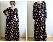 70s Black Flower Maxi Dress- 6/8, Medium, Hippie Goth, Hipster, Long Sleeve, Boho, Empire Waist LOT 3
