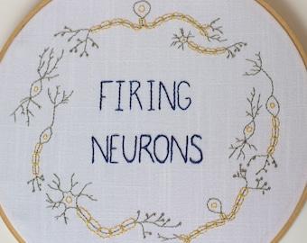 Firing Neurons Embroidery Hoop