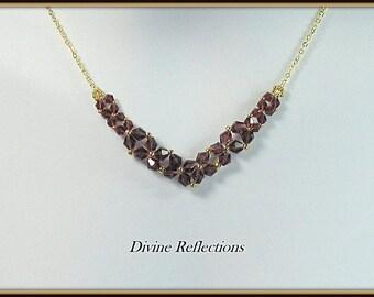Crystal Necklace, Purple Crystal Necklace, Purple Necklace, Crystal V Necklace, Bib Necklace, Crystal Bib Necklace, Purple Bib Necklace