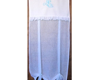 Personalised Door Panel, Custom Roll up Shade, Tie up Panel, Length 80 inches, Duck Egg Blue Monogram