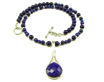 Lapis Lazuli Sterling Silver Necklace - N783