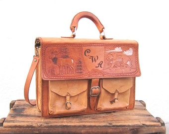 Vintage Hand Tooled Rugged Tan Leather Satchel Briefcase w/Strap