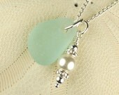 Bright Aqua Blue Sea Glass Necklace With Wire Wrapped Pearl
