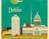 Dublin Ireland Art Print, Dublin Skyline Print, Dublin Art Print, Dublin Baby Art, Dublin Vertical Prints, Irish Green Print-E8-O-DUB