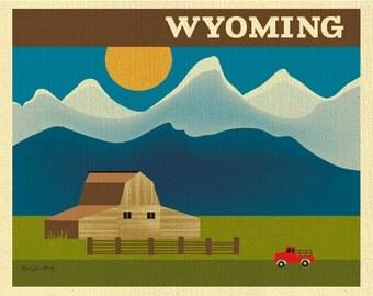Wyoming Art Print, Jackson Hole Skyline Poster horizontal print, Wyoming Wall Art Print, Loose Petals Art Gift - style E8-O-WYO
