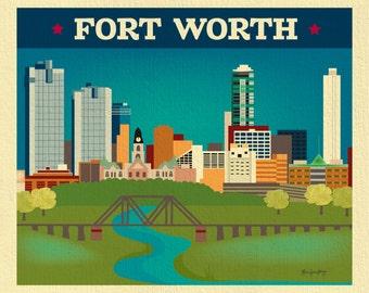 Fort Worth Skyline Art Print, Fort Worth TX map print,  Texas Wall Art, Trinity River, Fort Worth Horizontal, Fort Worth art print  E8-O-FOR