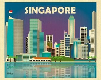 Singapore Skyline Print, Singapore Flag, Horizontal Singapore Travel Artwork, Singapore Office Art, Singapore Art Print -style E8-O-SIN
