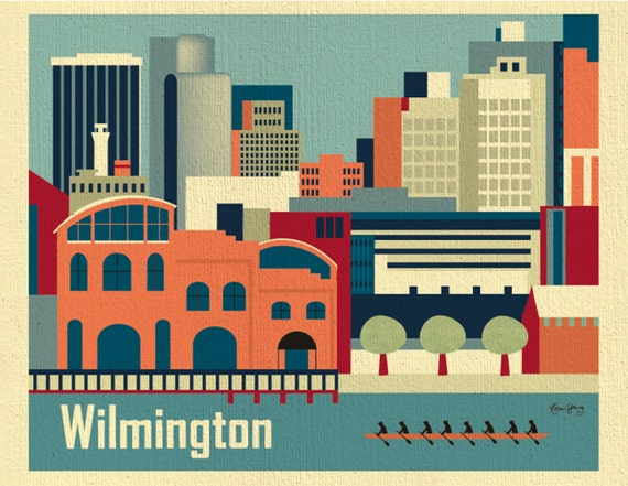 Wilmington Print, Delaware Skyline Art Print from Loose Petals Collection, Wilmington DE Artwork for Office, Child's Room - style E8-O-WIL