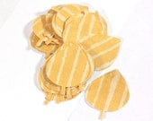 32 Little Orange Striped Leaves for crafting, cardmaking, or scrapbooking - 2 inch by 1.5 inch paper leaves