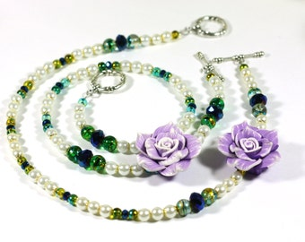 Purple Rose Chunky Assymetrical Statement Necklace - White, Blue and Purple with Gold and Silver accents