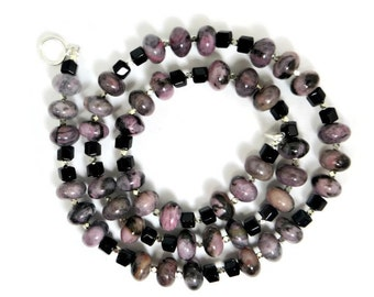 Rhodanite Rondelle Beads with Black Onyx Faceted Square Beads Necklace