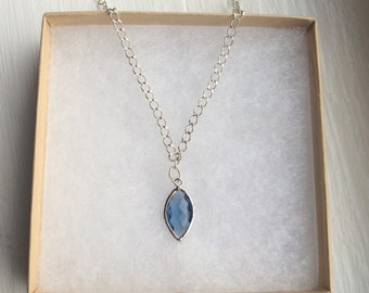 The Slice of Heaven- Dark Blue Faceted Silver Necklace