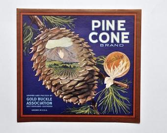 Vintage Original Pine Cone Brand California Orange Fruit Crate Label 1930's Sunkist