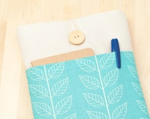 kindle paperwhite cover / kindle fire HDX 7 case / Kobo aura HD case / kobo mini case - blue leaves with pockets -