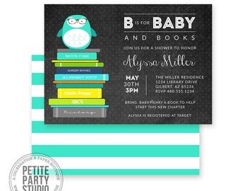 Book Baby Shower Printable Party Invitation - Birthday or Baby Shower - Petite Party Studio