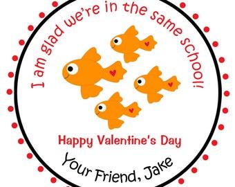 Goldfish Valentine's Day Stickers --  valentines day sticker -- Fish Sticker - Valentine