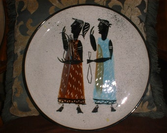 Large Mid Century Modern Platter Plate Italy Greece 1956 Marked!