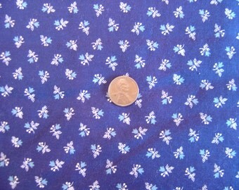 Dollhouse fabric navy white blue floral fat quarter miniature 1:12 scale