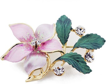 Pink Flower Swarovski Crystal Pin Brooch 1011351