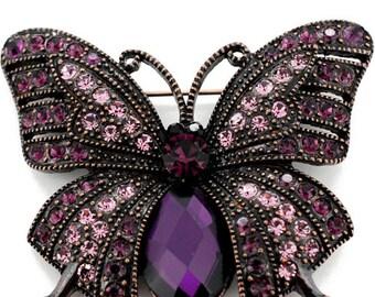 Vintage Style Purple Butterfly Crystal Pin Brooch 1003551