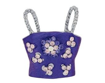 Amethyst Purple Women Tube Top Swarovski Crystal Brooch Pin 1011781