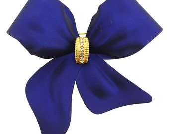 Navy Blue Bow Brooch Pin 1011952