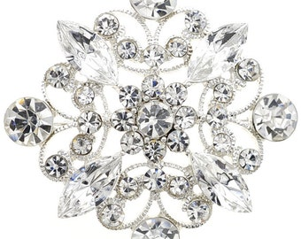 Crystal Flower Wedding Pin And Pendant 1004092