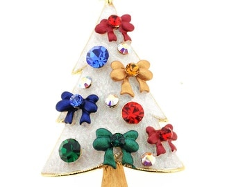 White Christmas Tree Pin Brooch 1012922