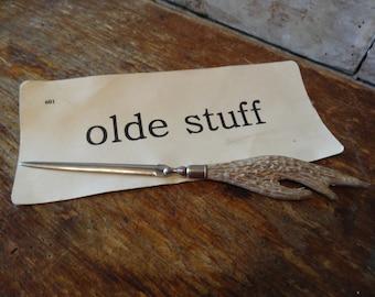 Vintage Metal Letter Opener Faux Deer Horn Antler