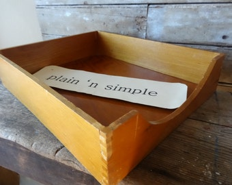 Vintage Wooden File Basket or Folder In out Office Tray Dovetailed