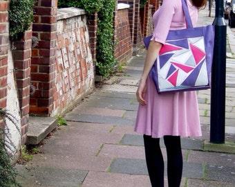 Genuine Leather Purple Tote Bag
