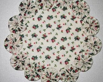 Pair Of Yo Yo Candle Mats, Floral Rose Print