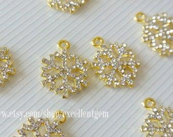 5-10pcs Rhinestone charm, Gold, silver plated, Lead, nickel free, Crystal Rhinestones Snow charm,