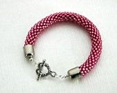 Pink Bead Crochet Bracelet - Raspberry Bangle - Hot Pink Beaded rope bracelet