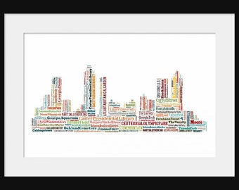 Atlanta Skyline Word Art Typography Color  2 Typographical Print Poster