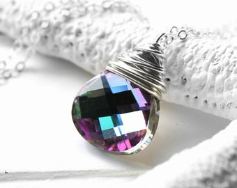 Pink, Purple, Green, Blue Crystal Necklace, Vitrail Light Swarovski Crystal Wire Wrapped Flat Pear Pendant, Sterling Silver Cable Chain