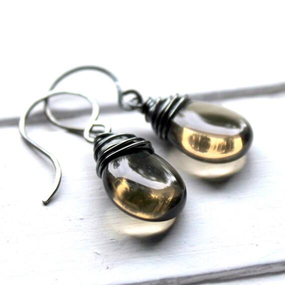Smokey Gray Glass Earrings, Smoke Oxidized Sterling Silver Wire Wrapped Czech Glass Flat Teardrop, Handmade Sterling Silver Earwires