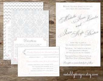 Peony, Damask, Chevron Wedding Invitation Suite Printable PDF