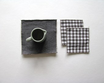 rustic fabric mug rug - brown trivets - set of 3x - hostess gift - rustic home decor - square coaster - teapot trivet